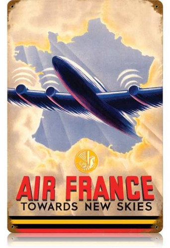 Vintage Air France Metal Sign 12 x 18 Inches