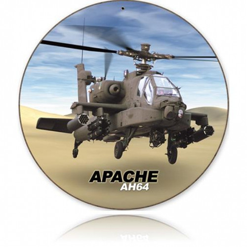 Retro Apache Round Metal Sign 14 x 14 Inches
