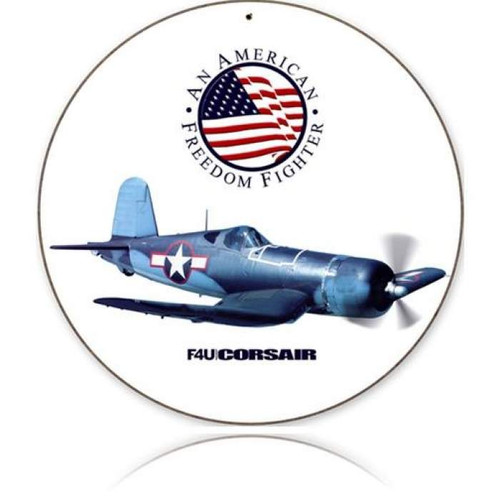 P-51 Mustang Round Metal Sign - Hand Made in the USA with