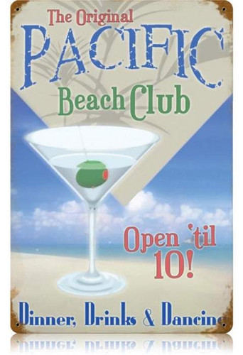 Vintage Pacific Beach Club Metal Sign  12 x 18 Inches