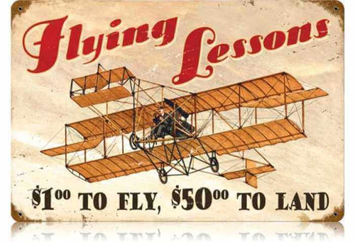 Retro Flying Lessons Metal Sign 18 x 12 Inches