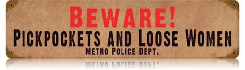 Retro Beware Pickpockets Metal Sign 20 x 5 inches