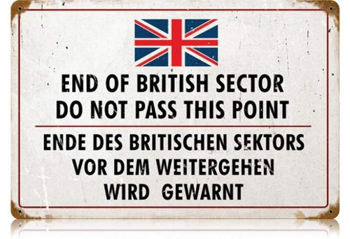 Retro British Sector Metal Sign 18 x 12 Inches