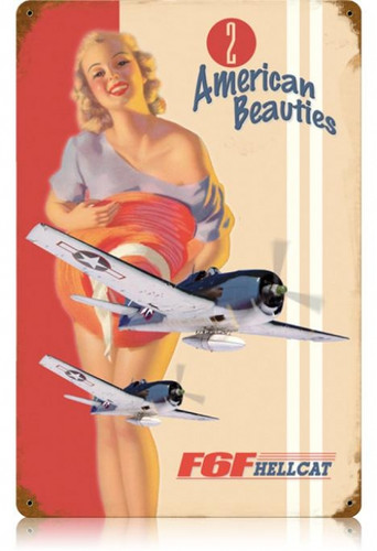 Vintage F6F Hellcat  - Pin-Up Girl Metal Sign 12 x 18 Inches