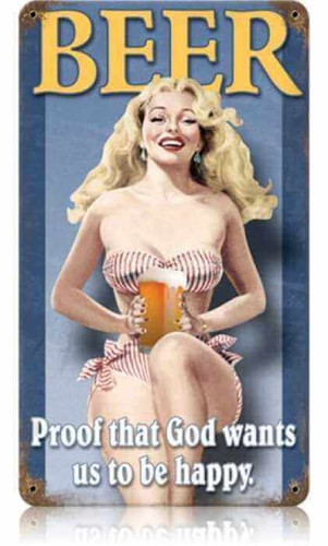 Vintage Beer Pin-Up Girl Metal Sign 8 x 14 Inches