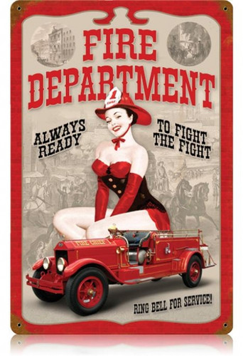 Vintage Fire Dept. Pin Up  - Pin-Up Girl Metal Sign   12 x 18 Inches