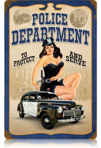 Vintage Police Pin Up  - Pin-Up Girl Metal Sign 12 x 18 Inches