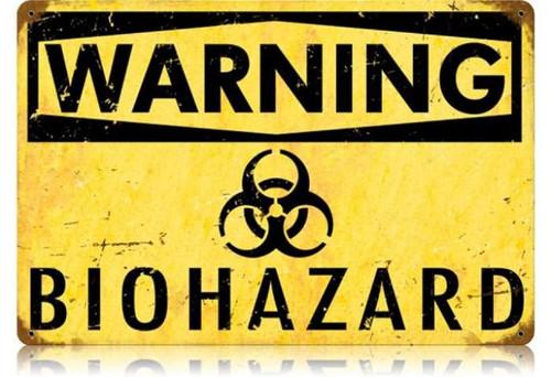 Retro Biohazard Metal Sign 18 x 12 Inches