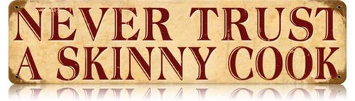 Retro Skinny Cook Metal Sign 20 x 5 inches