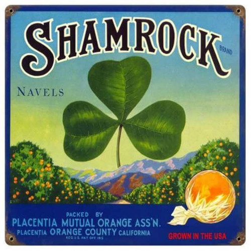 Vintage Shamrock Metal Sign 12 x 12 Inches