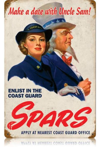 Vintage Spars Coast Guard Metal Sign 12 x 18 Inches