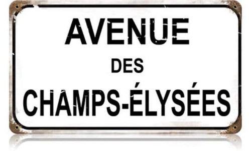 Retro Champs Elysees Metal Sign 14 x 8 Inches