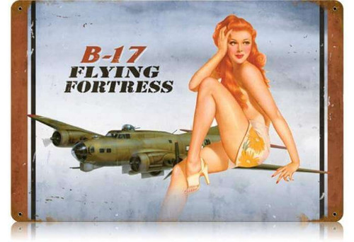 Retro B-17 Redhead  - Pin-Up Girl Metal Sign 18 x 12 Inches