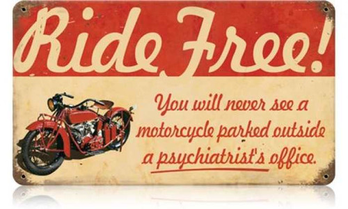 Retro Ride Free Motorcycle Metal Sign 14 x 8 Inches
