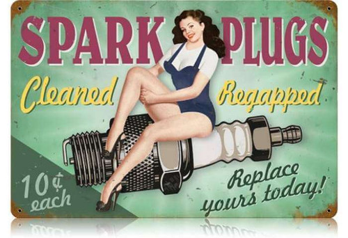 Retro Spark Plugs Pin Up  - Pin-Up Girl Metal Sign 18 x 12 Inches
