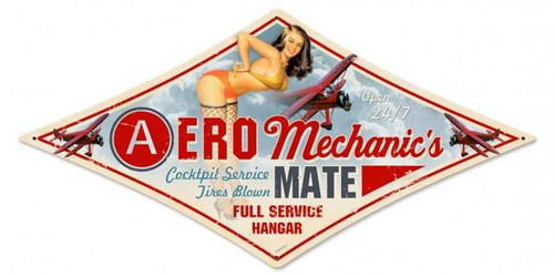 Vintage Aero Mechanic Diamond  - Pin-Up Girl Metal Sign 14 x 24