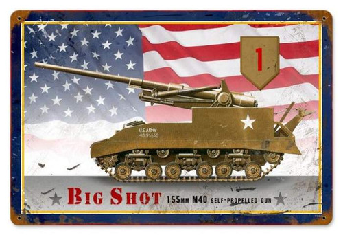 Vintage M40 Bigshot Metal Sign 12 x 18 Inches
