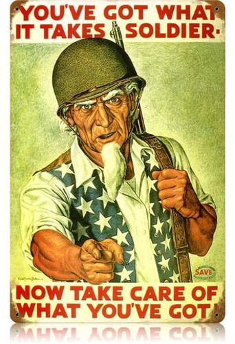 Retro Uncle Sam Soldier Metal Sign 18 x 12 Inches