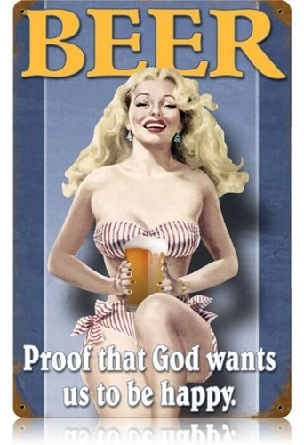 Retro Beer Pin-up Metal Sign  18 x 12 Inches
