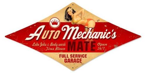Vintage Auto Mechanic Diamond - Pin-Up Girl Metal Sign