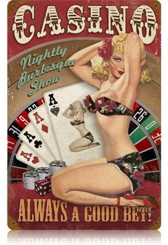 Vintage Casino Pinup  - Pin-Up Girl Metal Sign 12 x 18 Inches