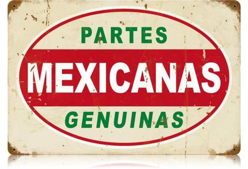 Vintage Mexicanas Partes Metal Sign 12 x 18 Inches