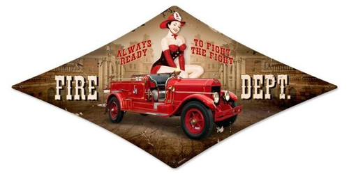 Vintage Fire Department Diamond  - Pin-Up Girl Metal Sign 14 x 24 Inches