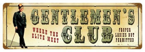 Vintage Gentlemen's Club Metal Sign 8 x 24  Inches