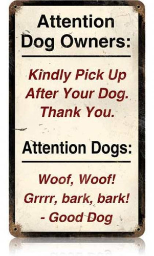 Vintage Attention Dogs Metal Sign   8 x 14 Inches
