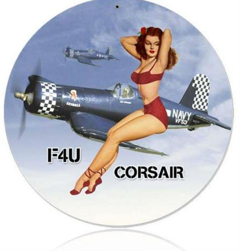 Retro Corsair Pinup  - Pin-Up Girl Metal Sign 14 x 14 Inches