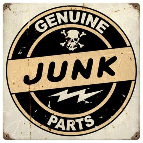 Vintage Junk Parts Metal Sign 12 x 12 Inches