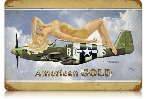 Vintage American Gold  - Pin-Up Girl Metal Sign 12 x 18 Inches