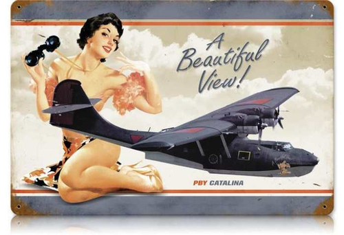 Vintage PBY Beautiful  - Pin-Up Girl Metal Sign 12 x 18 Inches