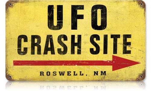 Vintage UFO Crash Site Metal Sign 8 x 14 Inches