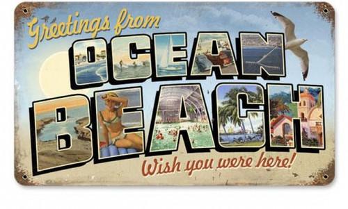 Vintage Ocean Beach Postcard Metal Sign 8 x 14 Inches
