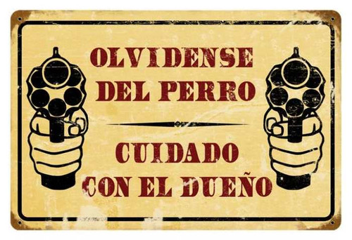 Retro Cuidado Metal Sign 18 x 12 Inches
