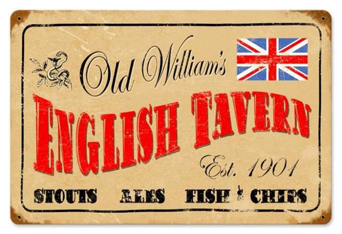 Retro English Tavern Metal Sign 18 x 12 Inches