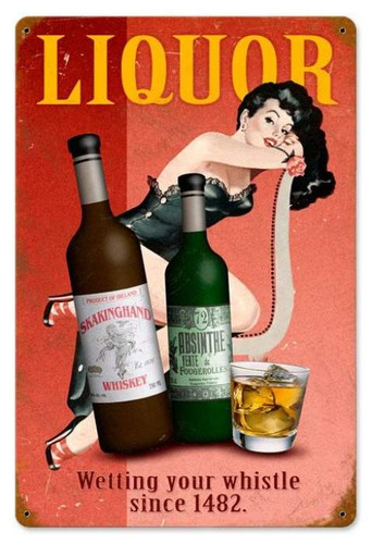 Vintage Liquor Pin-up  - Pin-Up Girl Metal Sign 12 x 18 Inches
