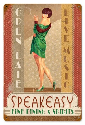Vintage Speakeasy  - Pin-Up Girl Metal Sign 12 x 18 Inches