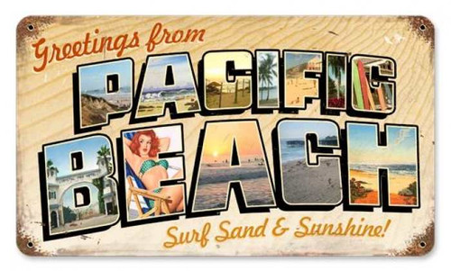 Retro Pacific Beach Postcard Metal Sign 14 x 8 Inches