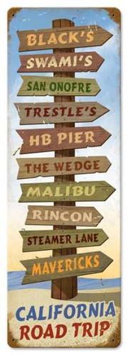 Vintage California Road Trip Metal Sign
