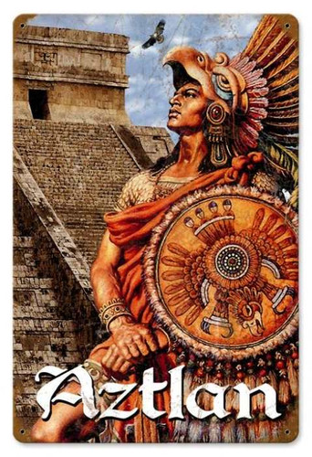 Vintage Aztlan Metal Sign 12 x 18 Inches