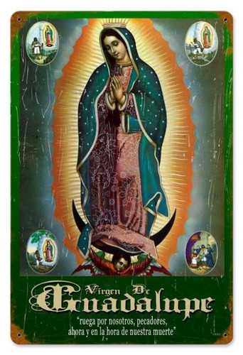 Vintage Virgen Metal Sign 12 x 18 Inches
