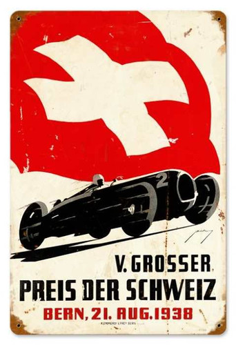 Vintage Swiss Race Car Metal Sign 12 x 18 Inches