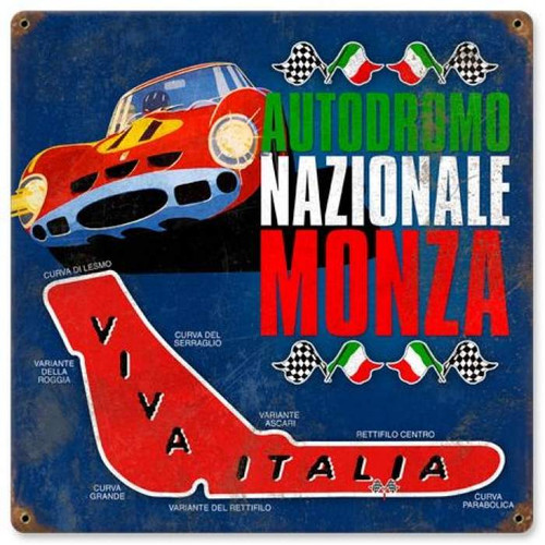 Vintage Monza Racing Metal Sign 12 x 12 Inches