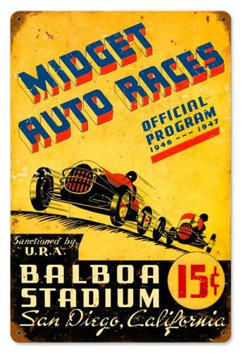 Vintage Midget Auto Races Metal Sign 12 x 18 Inches
