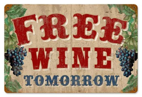 Retro Free Wine Metal Sign 18 x 12 Inches