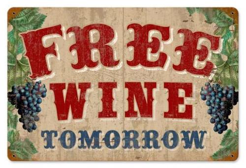 Retro Free Wine Metal Sign 18 x 12 Inches