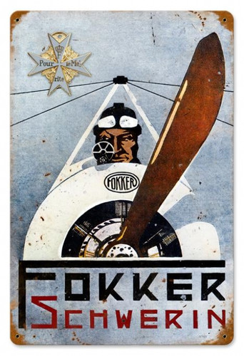 Retro Fokker Schwerin Metal Sign  18 x 12 Inches