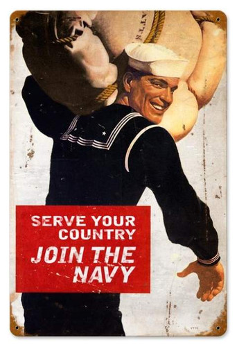 Vintage Serve Your Country Metal Sign 12 x 18 Inches